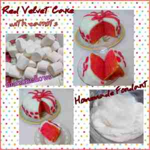 red cake with fondant